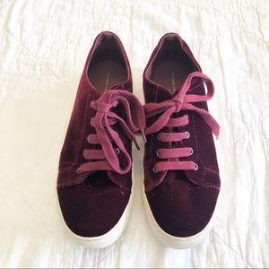 Zara   Burgundy Velvet Like Sneakers